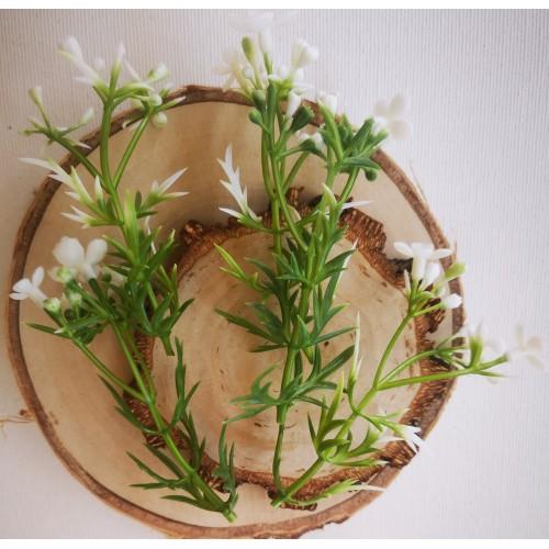 Gałązki zielone i białe kwiaty
